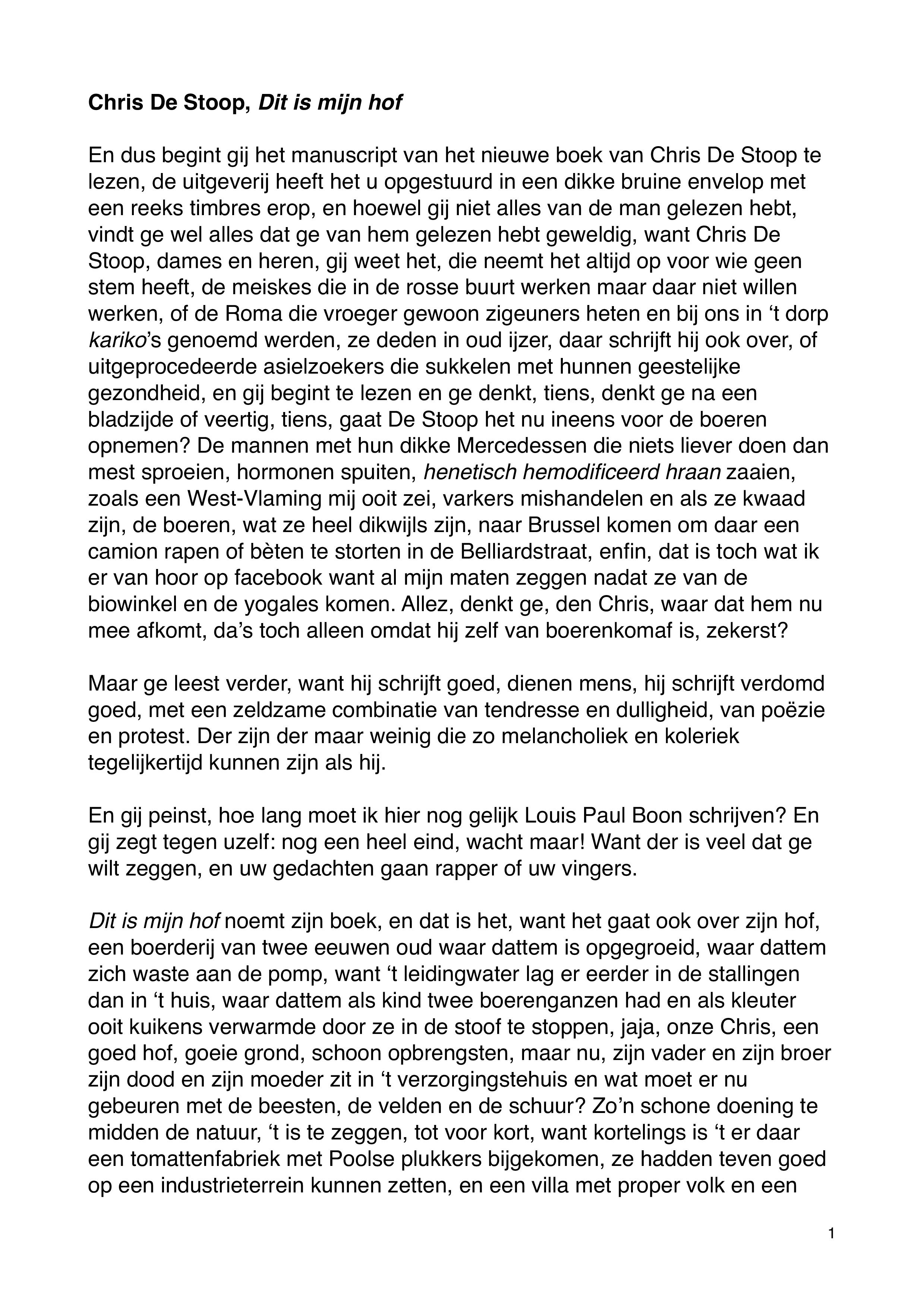 Chris De Stoop - inleiding